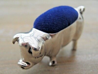 Novelty Edwardian Style Hallmarked Solid Sterling Silver Pig/Sow Pin Cushion