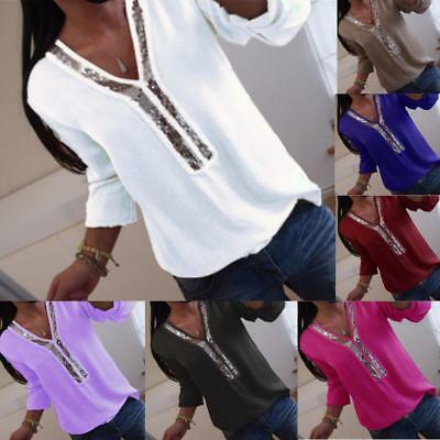 UK Womens Plus Size Stretch Blouse Pullover Ladies Base Jumper Lace Sequins Tops