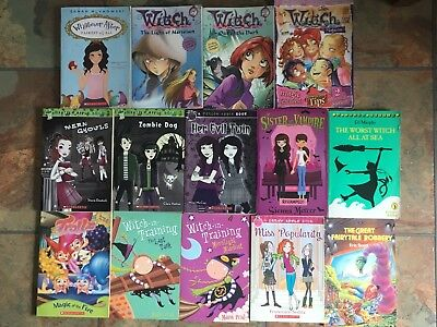 Bulk lot of 14 Girls Books Worst Witch in Training, Rotten, Poison Apple, Trollz