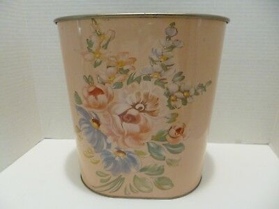 Vintage Metal Toleware Flower Design Wastebasket