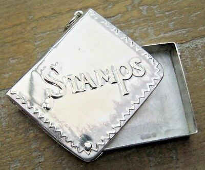 Novelty Antique Style Hallmarked Sterling Silver Stamp Case Box Book Chatelaine