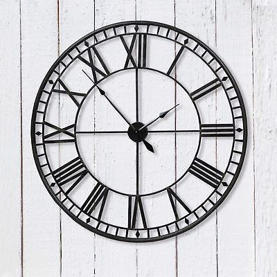 60cm BLACK LARGE SKELETON WALL MOUNTED VINTAGE STYLE ROMAN CLOCK IRON HOME DECOR
