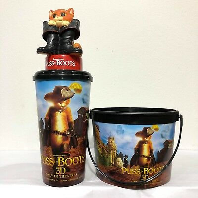 Set Puss In Boots Movie DreamWork Cup Topper Figure Model Bucket Popcorn Cinemas