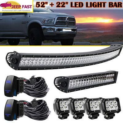 """52Inch Curved LED Light Bar Combo+22inch+4x4""""CREE PODS+2PCS Free Wiring Harness"""
