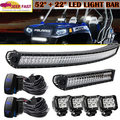 """52''in 300W Curved LED Light Bar + 22""""in 120W LED LIGHT BAR+ 4X 4"""" 18W CREE PODS"""