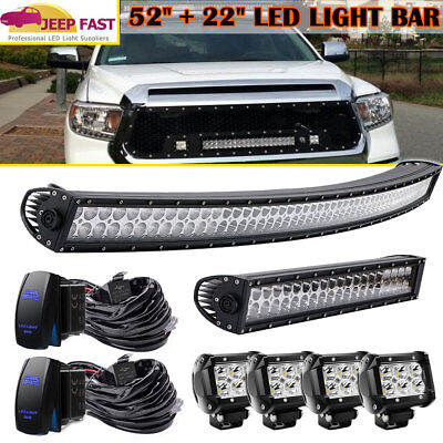 """52Inch LED Light Bar Combo + 22"""" + 4"""" CREE PODS OFFROAD SUV 4WD FORD JEEP"""