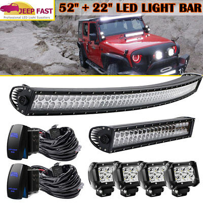 """52Inch Curved Led Light Bar+22""""+4inch Cree Pods OFFROAD SUV 4WD CHEVY GMC RAM"""