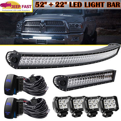 """52Inch LED Light Bar Combo + 22"""" 120W+ 4"""" CREE PODS OFFROAD SUV 4WD FORD JEEP"""