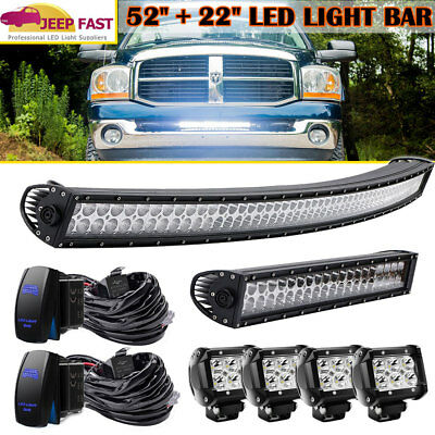 """52Inch LED Light Bar Combo + 22"""" +4X 4"""" PODS OFFROAD For SUV 4WD Ford Jeep"""