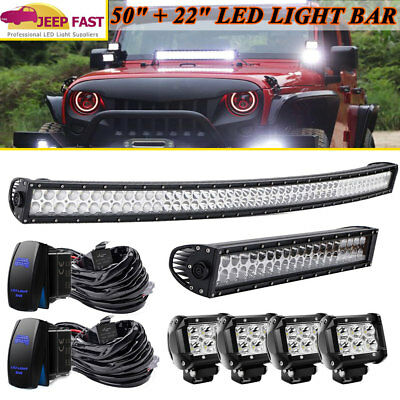 """50INCH 288W CURVED LED LIGHT BAR DRIVING 20/22"""" 120W COMBO 4"""" 18W SPOT Free kit"""