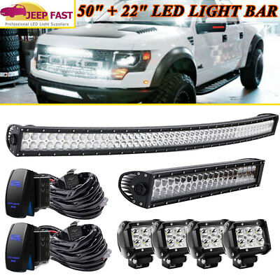 """Curved 50Inch LED Light Bar + 22in Combo+4"""" PODS OFFROAD SUV 4WD for Ford UTV"""