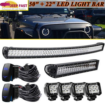 """50Inch LED Light Bar Combo + 22in +4"""" CREE PODS OFFROAD SUV 4WD ATV FORD JEEP 50"""