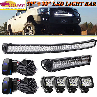 """Curved 50'' In Led Light Bar + 20/22"""" Combo Bar 4"""" Driving Pods Kit Wirings"""