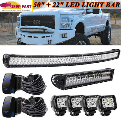 Curved 50'' inch +22''in LED Light Bar +4'' Pods Lamp Combo For jeep Toyota 4WD