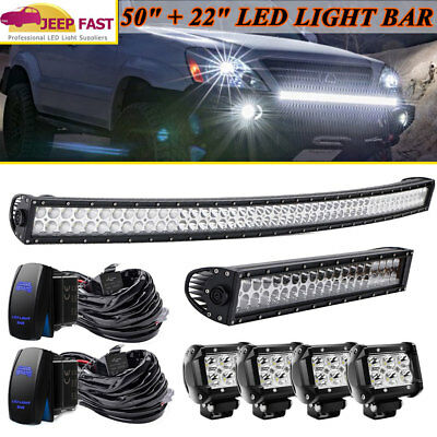Curved 50''inch +22''in LED Light Bar +4'' Pods Lamp Combo for jeep Toyota 4WD