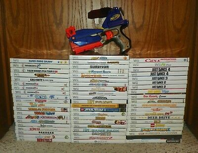 Video Game Lot - 62 Nintendo Wii Games - Mario, Zelda, 007, Call Of Duty & More