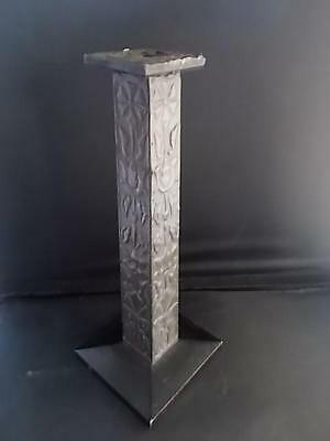 Vtg c1900 Wooden Antique Hammered Pewter Arts & Crafts Candlestick Candle Wood