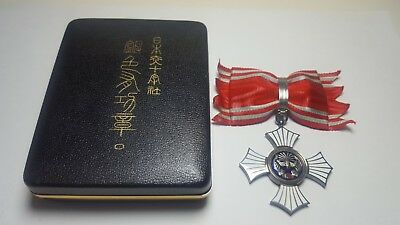 WWII Japanese Red Cross Silver Class Meiji Period Rare With Rosette and Box