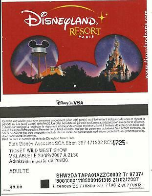 Pass Euro Disney Disneyland Spectacle WWS Adulte PAPIER Oreille PARAGON TTB