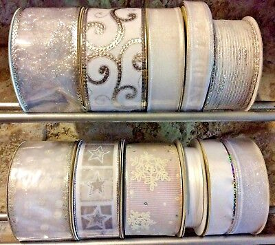 11 Rolls Silver Christmas Ribbon Bundle Trees Wreaths-Wholesale Job Lot Wrapping