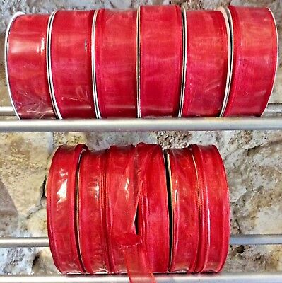 12 Rolls Red Christmas Ribbon Bundle Trees Wreaths Wholesale Job Lot Wrapping