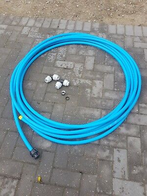 BLUE MDPE PLASTIC WATER MAINS PIPE  25MM Approx 28m length with 2 25mm elbows