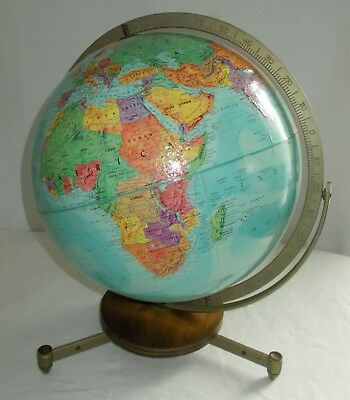 Vintage Replogle Stereo Relief  Blue World Land & Sea World Globe on Stand