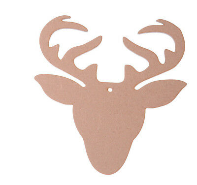 Wooden MDF Stag Deer Head Shapes Reindeer Tags Large Size Monarch