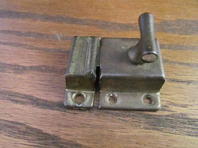 Vintage Brass Finish Hoosier Latch Handle Catch Lock Set Door Cabinet T Handle