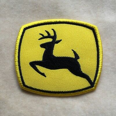 John Deere Deer Logo Embroidery Iron On Patch Badge Black With