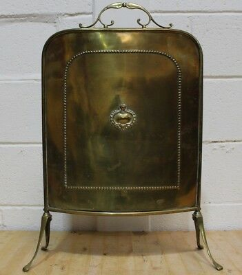 Antique Early 20th C. Brass Fireplace Fire Screen (Art Nouveau) - 250