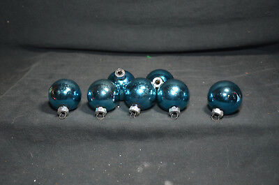 Vintage Lot of Seven Shiny Brite Blue Christmas Ornament