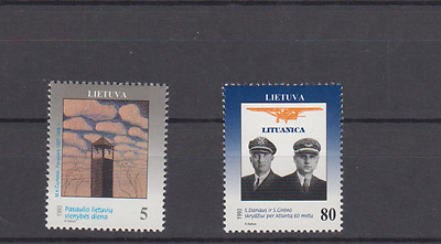 Lithuania 1993 Unity Day & Transatlantic Flight Set Mint Never Hinged
