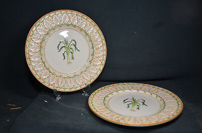 Lot of Two Fitz and Floyd China Le Canard Green Onion Dinner Plates