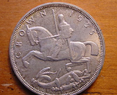 Lovely British Silver Crown Coin King George V Jubilee 1935