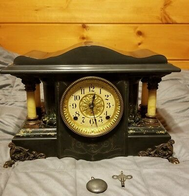 NICE Antique 1880s Seth Thomas Adamantine Clock w/ Full Pillars & Original Label