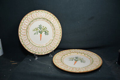 Lot of Two Fitz and Floyd Le Canard China Carrot Design Dinner Plate