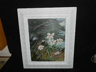 Large Oil Painting of Wild Flowers White Antique Ornate Frame Signed? Shabby