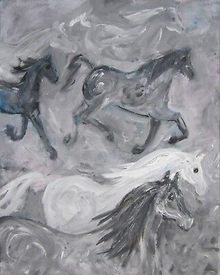 Silver Horses: a large painting on canvas by Jenny Hare