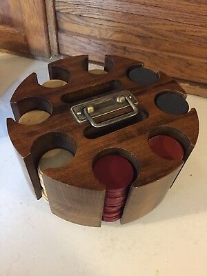 Vintage Poker Clay Chip Set Wood Carousel Caddy With Cover