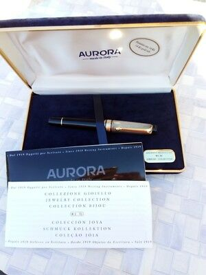 Aurora Optima Jewelry Collection Fountain Pen Silver Cap Gold Nib 14K
