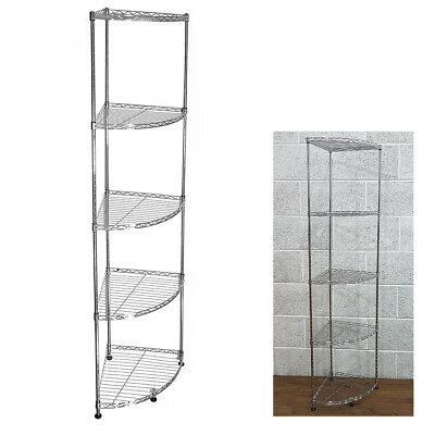 153x35x35cm Real Chrome Corner Wire Rack Metal Steel Kitchen Shelving Racks UKED