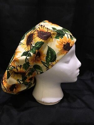 Sunflowers Medium Medical Bouffant OR Scrub Cap Surgical Surgery Chemo Hat
