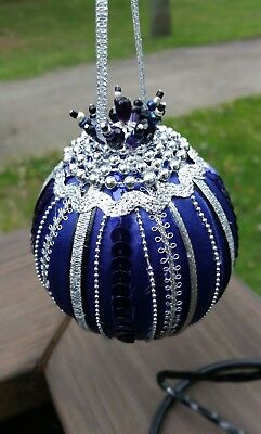 Purple/Black/Silver Victorian Beaded Satin Vintage Style Christmas Ornament~