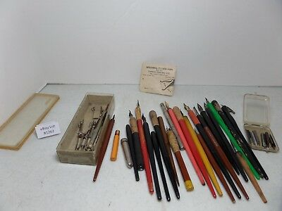 (Lot #1262) Vintage Calligraphy Fountain Dipping Pen Parts Lot