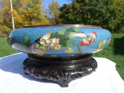 Large Antique Chinese Cloisonne Bowl With  Flowers And Wooden Stand Marked