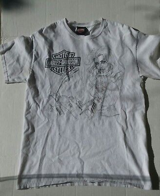 Harley-Davidson Short Sleeve White T-shirt Size Medium Oakland CA.