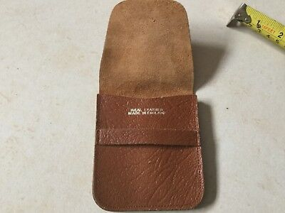 Brown Leather Flip Top Coin Wallet / Purse Made In England Hardly Used Retro
