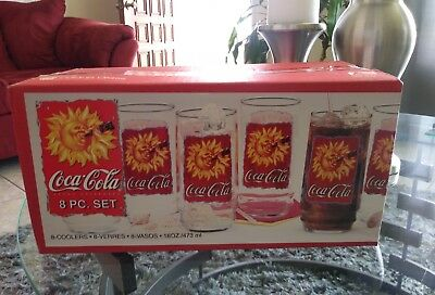 L@@K coca-Cola 8 pc. Coolers Glass Tumblers 16oz Indiana Glass 1995 Made in USA