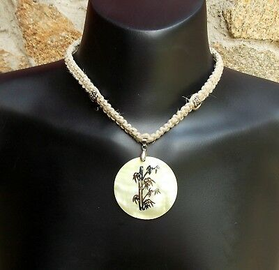 Handmade Natural Hippie Hemp Necklace Green Mother Of Pearl Shell Pendant